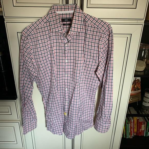 Hugo Boss Shirt 43/17 slim fit Grey Red White